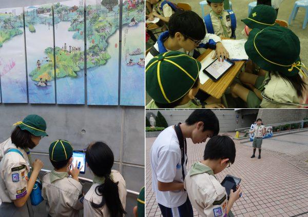 天主教鳴遠中學由高中同學帶領童軍,運用這個電子學習軟件作定向比賽,以此探索坑口社區。 照片:Esri中國(香港)