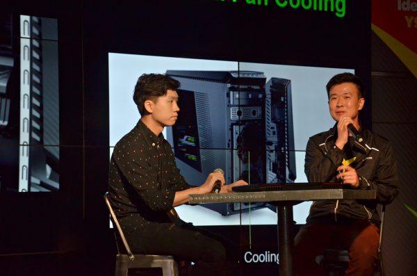 Lenovo Hong Kong Product Manager Ricky Ng(中)與資深遊戲玩家 Joker(左)大談Lenovo Y Gaming系列的重要賣點,如何引發機迷玩家的無限潛能。